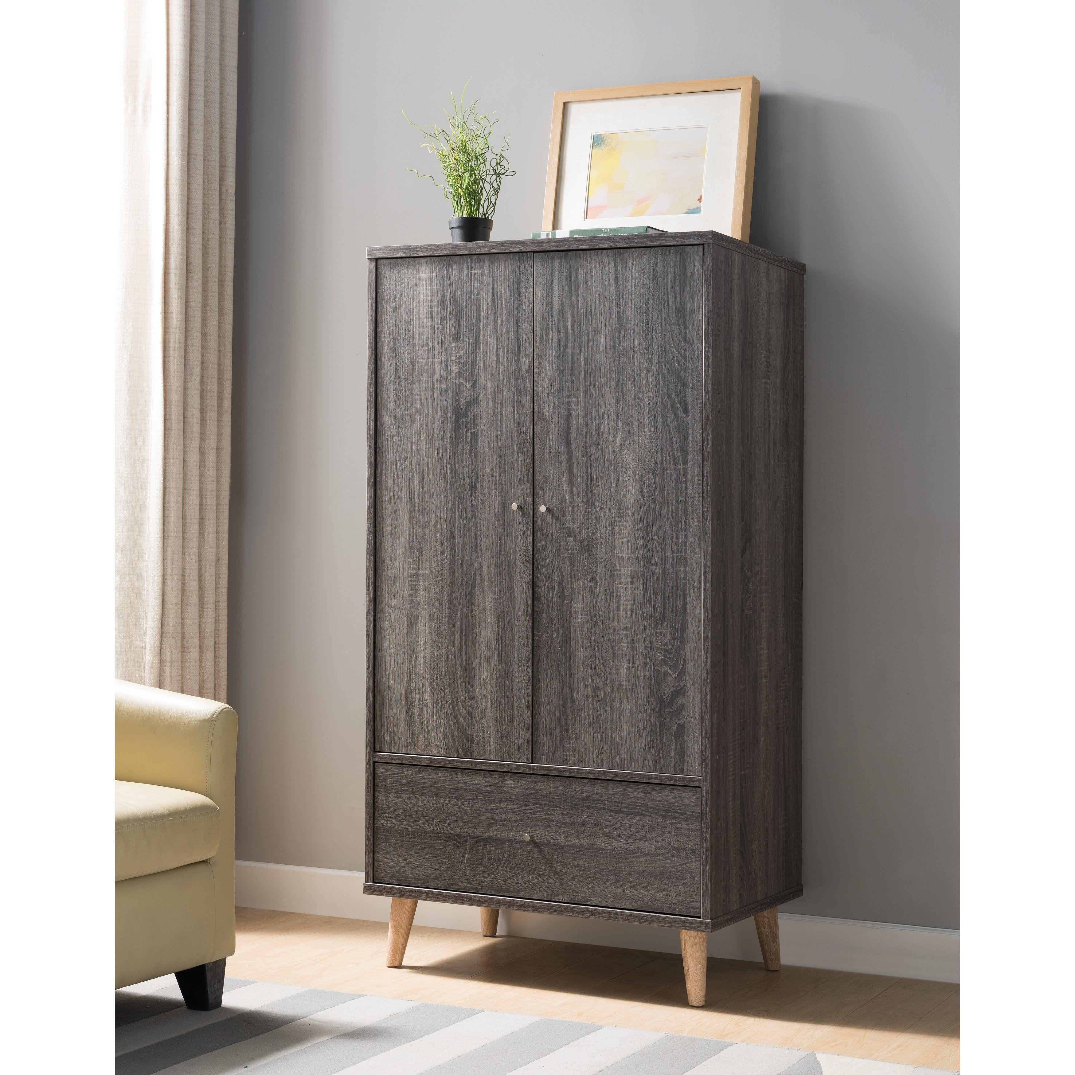 . Distressed Grey Armoire