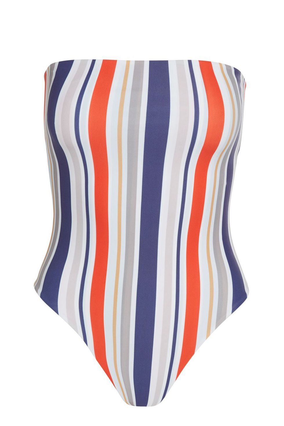 Best Strapless One-Piece Striped One-Piece Swimsuit Cami and Jax $250.00 SHOP IT A swimsuit that throws it back to your favorite tube tops of yesteryear. Unlike those ones, however, this one piece won't slide around—it'll stay right where it is, thanks to the side boning on top.
