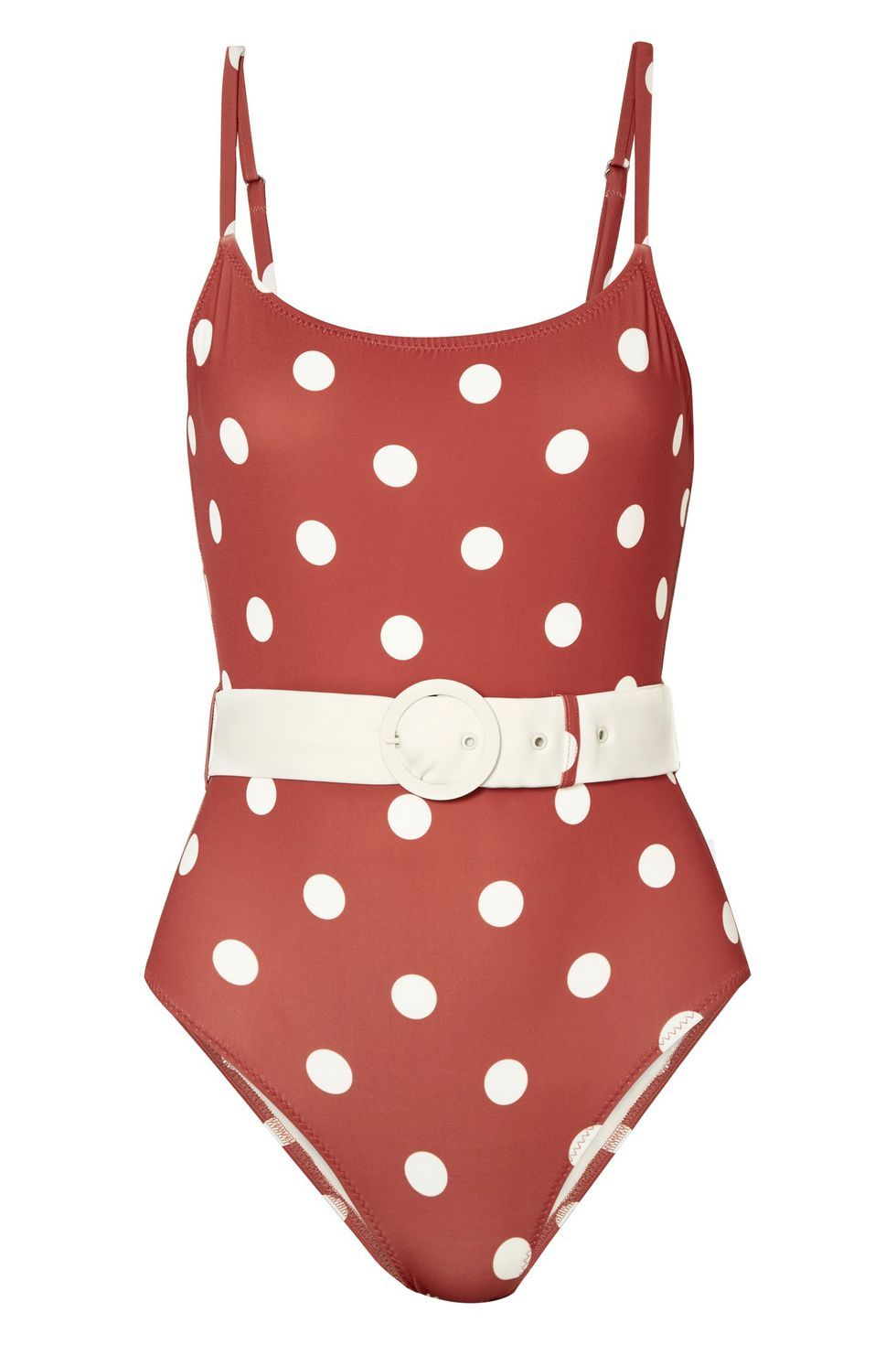 Best Polka Dot One-Piece The Nina Polka Dot Swimsuit Solid & Striped $170.00 SHOP IT Take the guesswork out of which accessories to pair with your swimsuit. This option from Solid & Striped comes with a white belt to match the polka dots.