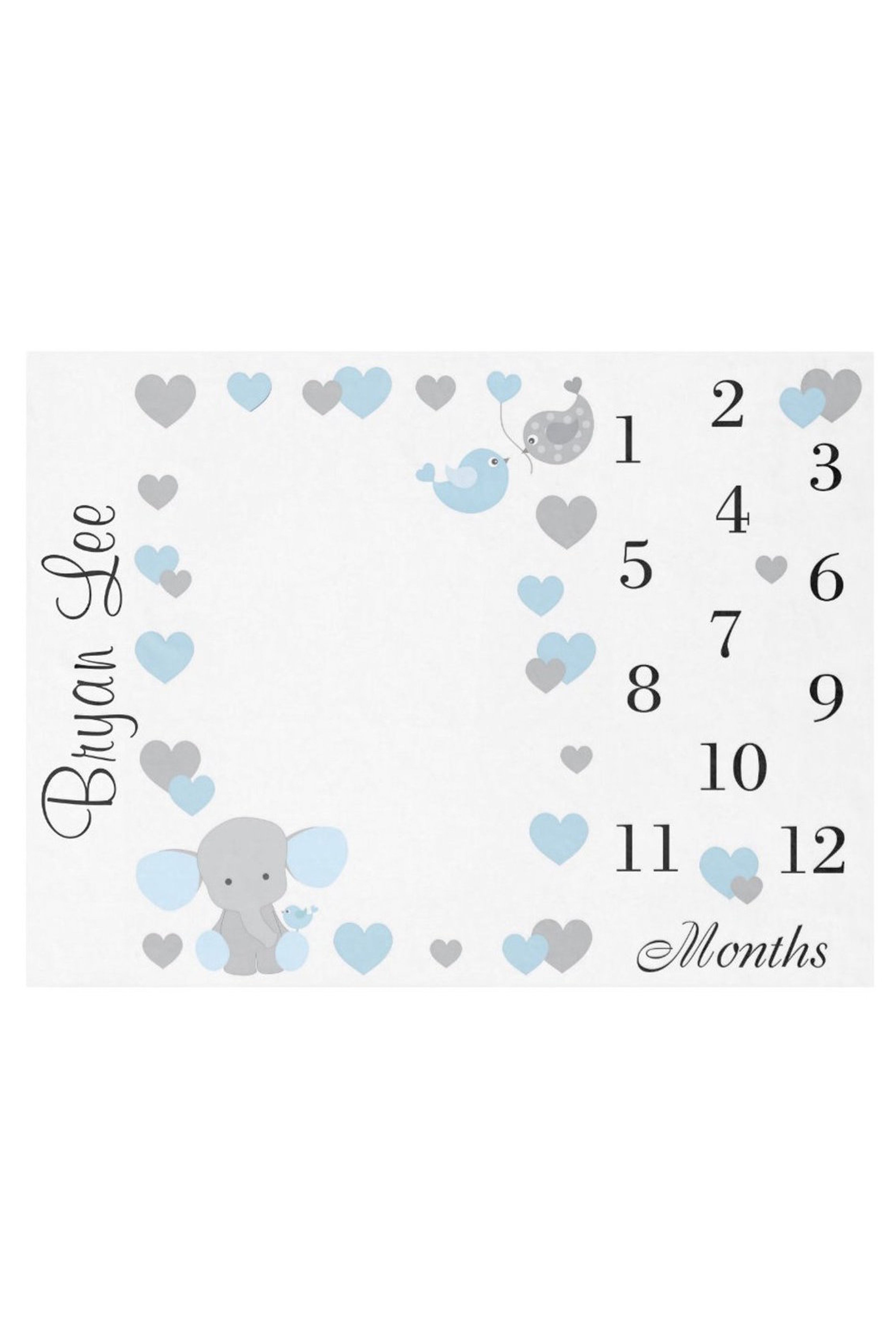 Baby Boy Monthly Blue Elephant Milestone Blanket