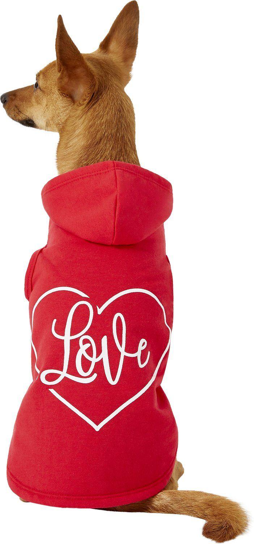 Red Love Heart Dog Hoodie