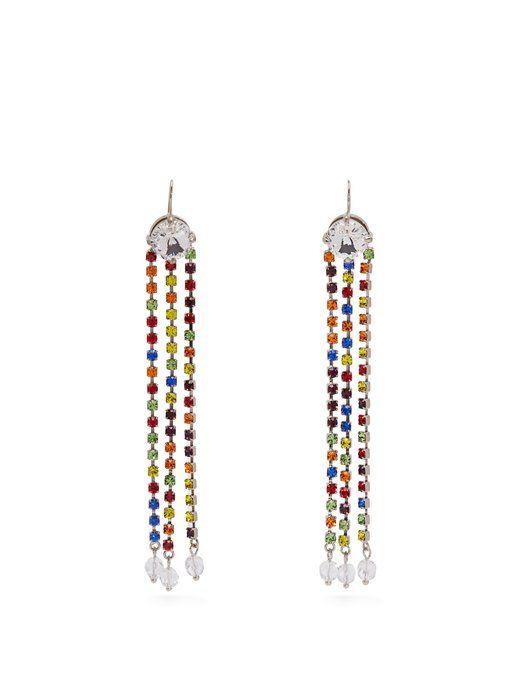 Crystal-Embellished Tassel-Drop Earrings