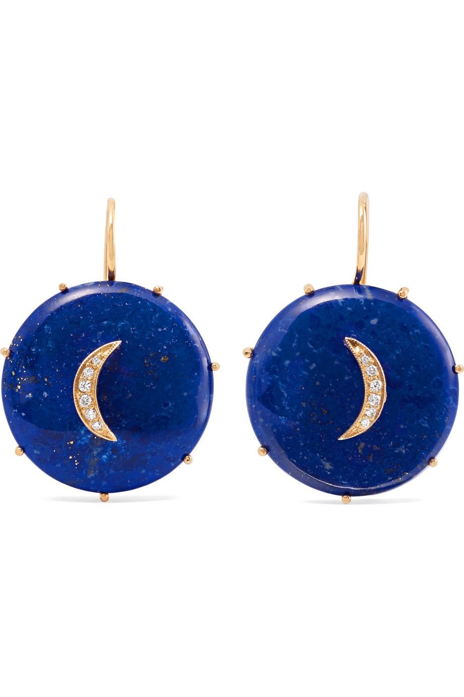 Crescent Moon Gold, Lapis Lazuli, and Diamond Earrings