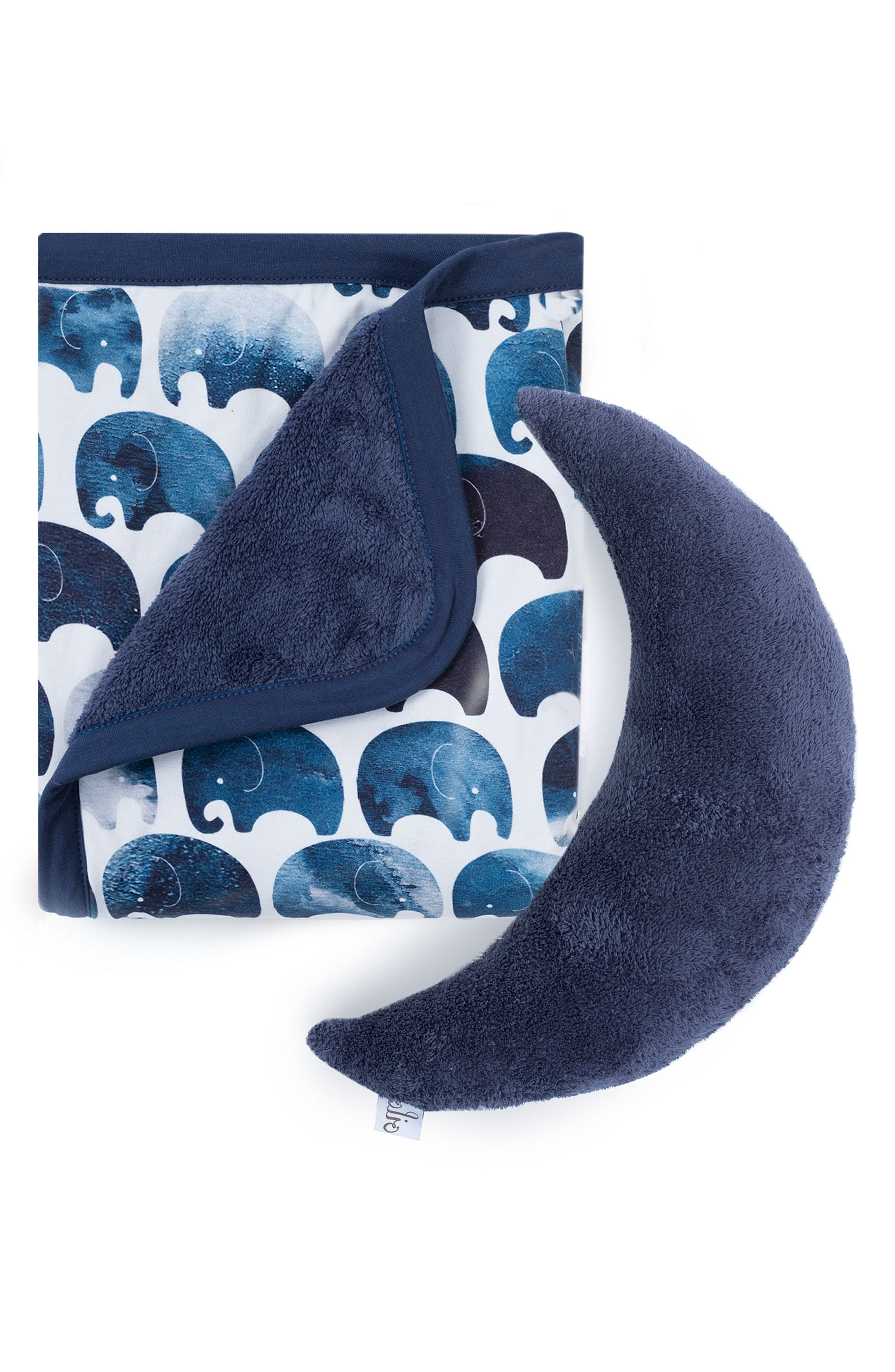 Moon Pillow and Elephant Blanket Set