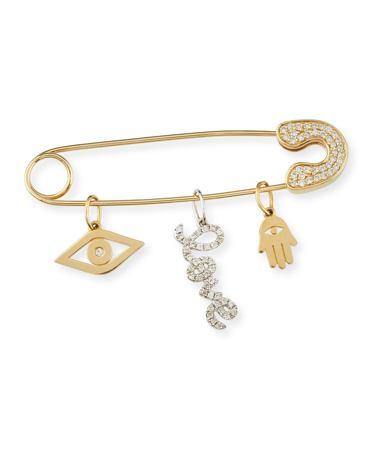 14k Gold Safety Pin Charm Catcher
