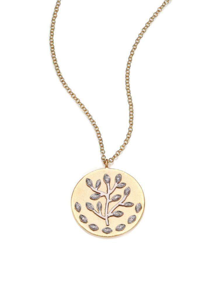Diamond & 14K Yellow & White Gold Tree of Life Necklace