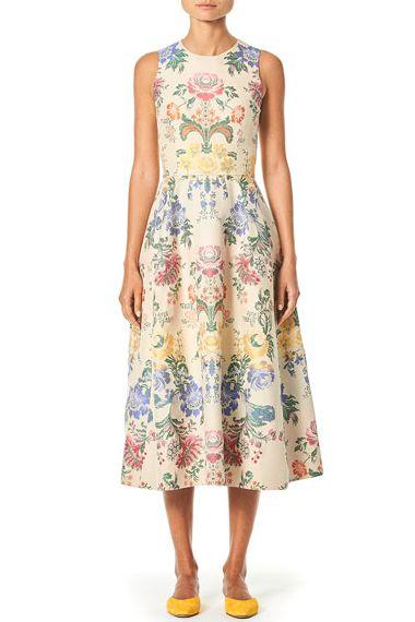 Sleeveless Peony-Print Poplin Midi Dress