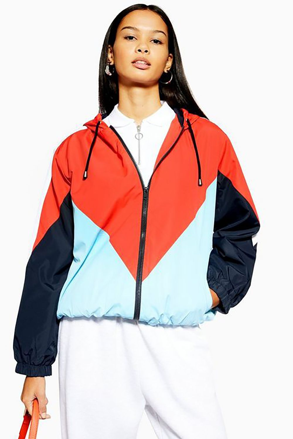 Color Pop Topshop $75.00 SHOP IT When the hair-flowing-in-the-wind is back (not the I-can't-feel-my-face-wind) grab this colorblocked windbreaker for a sportier look.