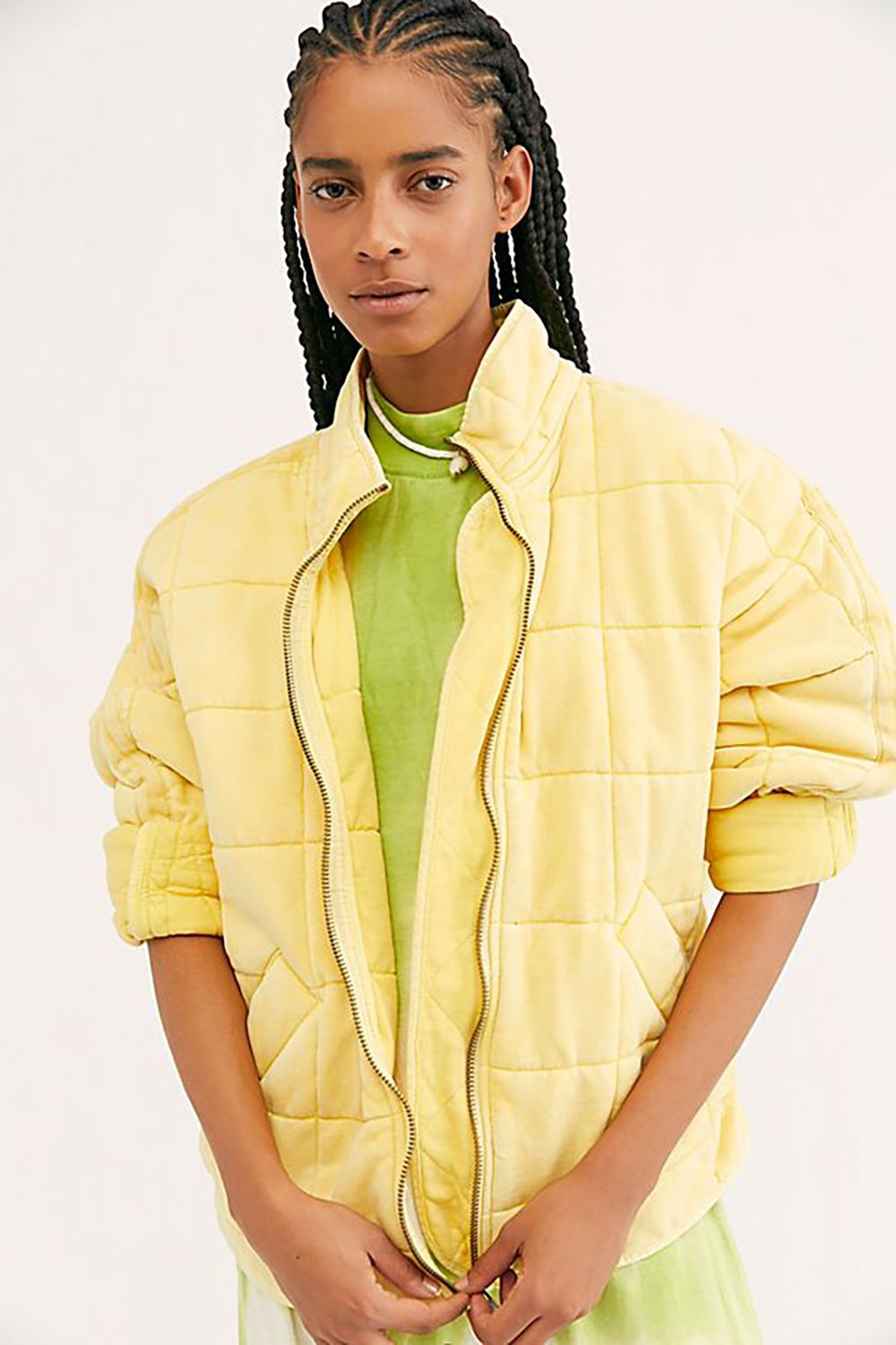 Lighten Up Free People $198.00 SHOP IT Brighten up any day with this quilted yellow knit jacket. It's guaranteed to come with plenty of compliments.
