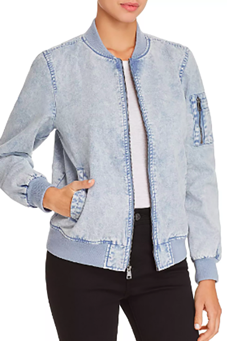 Dream Denim Levi's Bloomingdales $150.00 SHOP IT What happens when your favorite denim jacket meets your favorite bomber jacket? This acid-wash denim bomber that will instantly become your new weekend staple.