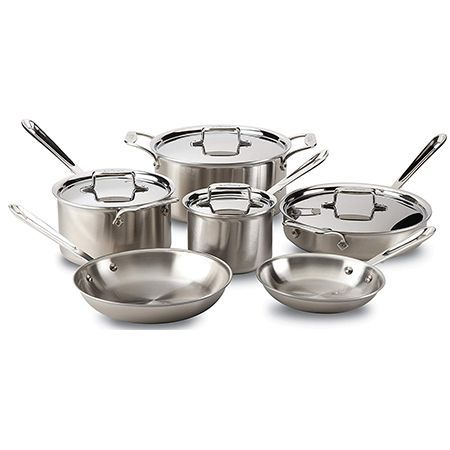 All Clad D5 Brushed Stainless Steel 5 Ply 10 Piece Cookware Set