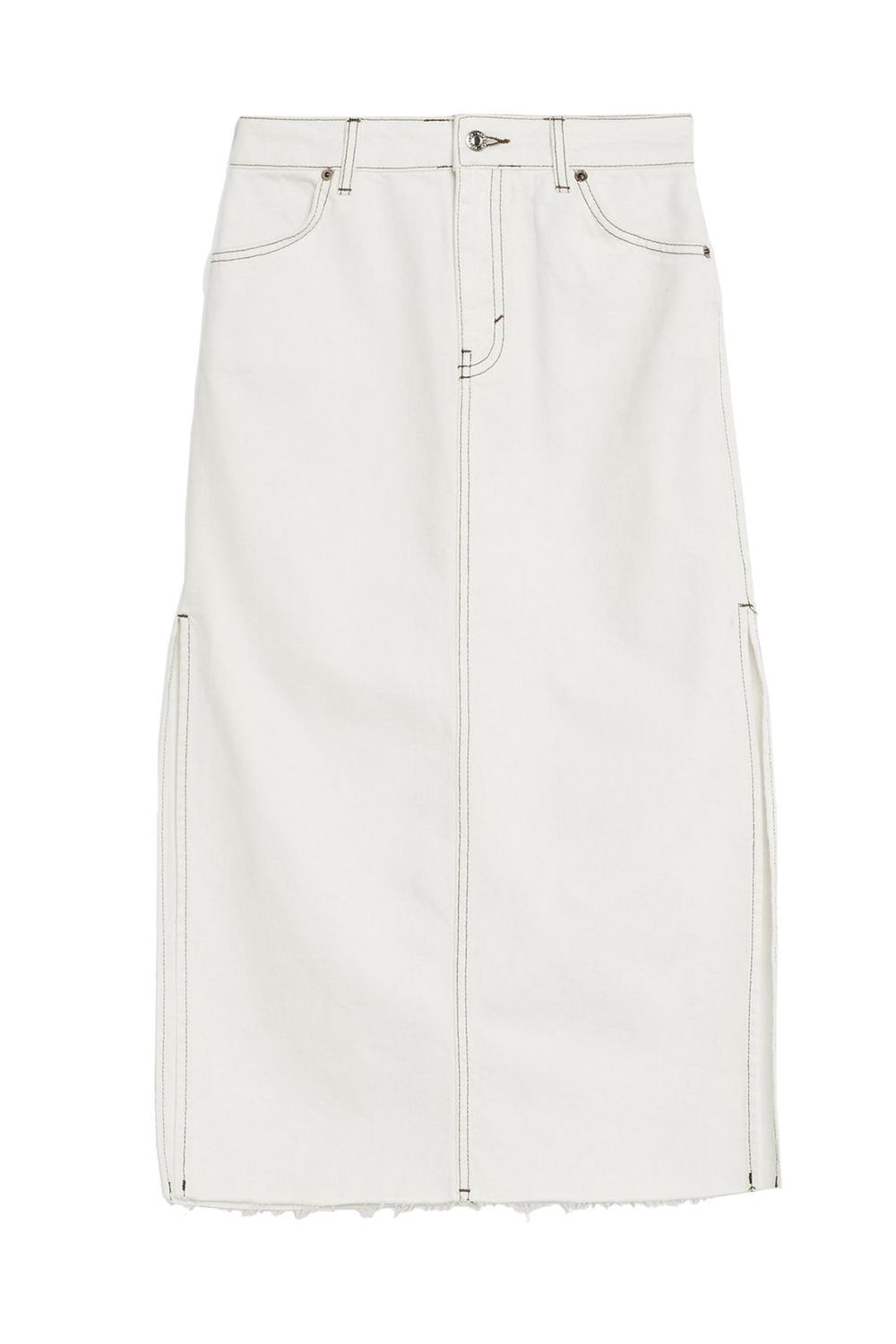 A White Denim Midi Skirt Topshop topshop.com $68.00 SHOP IT You've officially retired your too-short denim miniskirt  for good? As a replacement, try this Topshop piece, which is semi-sexy (peep those side slits) but modest thanks to the midi length.