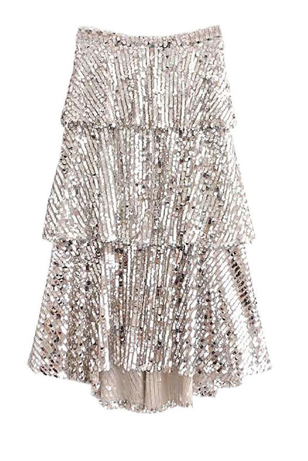 A Sequin Midi Skirt Good Night Macaroon goodnightmacaroon.co $67.00 SHOP IT A flashy sequin skirt you'll want to wear for all the rooftop birthday parties and bridal showers you'll attend this spring. The silver sparkles make this piece daytime appropriate, though you can easily transform it with a pair of black heels and a silk black cami for nighttime festivities.
