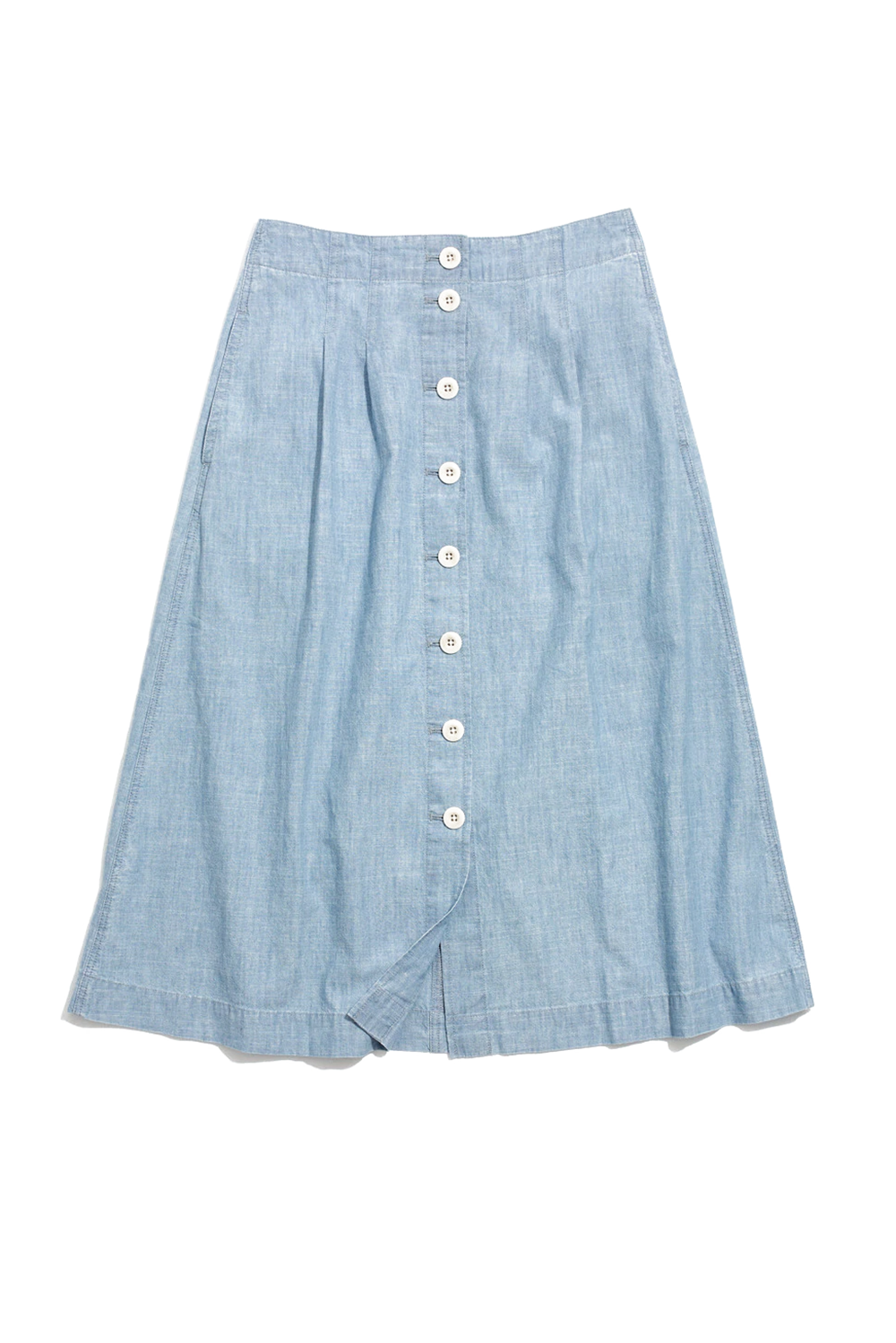 A Chambray Midi Skirt Madewell madewell.com $98.00 SHOP IT Madewell is starting to drop its spring products, like this cottom chambray skirt that suits every warm-weather activity from boating to picnicking in the park. The swingy midi number has flattering sewn-in pleats at the waist and crisp white buttons all the way down the front to let you decide how much leg you want to show.