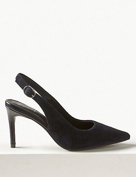 c564773ba57 Suede Stiletto Heel Slingback Shoes