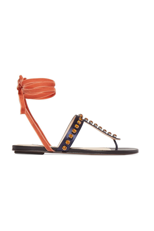 Vanessa Crystal-Embellished Velvet and Satin Sandals Attico theoutnet.com $185.00 SHOP IT