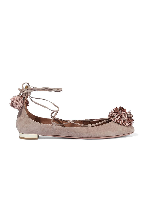 Sunshine Pompom-Embellished Suede Ballet Flats Aquazzura theoutnet.com $218.00 SHOP IT