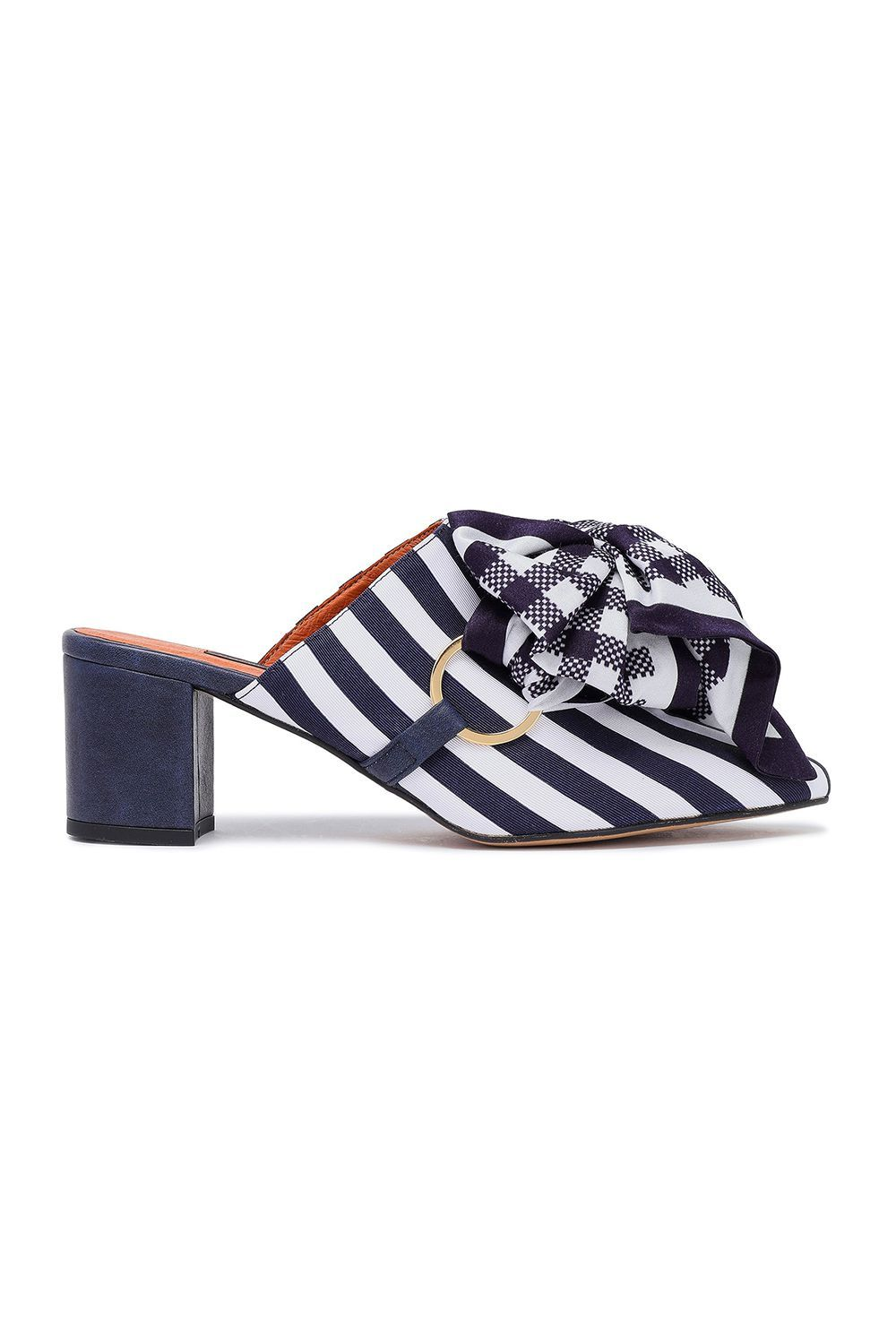 Bow-Embellished Striped Satin Mules Mother of Pearl theoutnet.com $148.00 SHOP IT