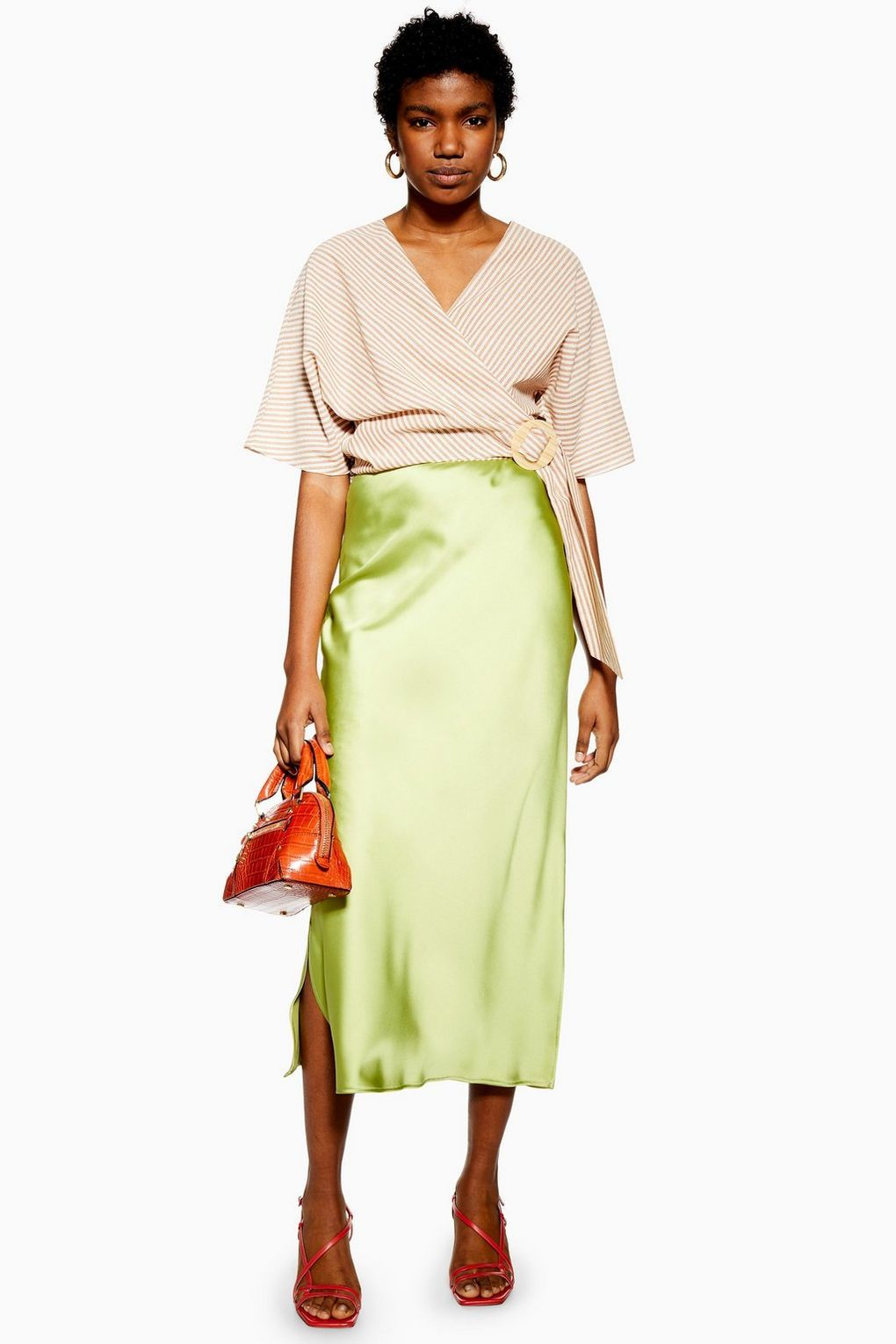 exceptional range of colors new product distinctive design Topshop satin midi skirt: New drop of sell-out Topshop skirts