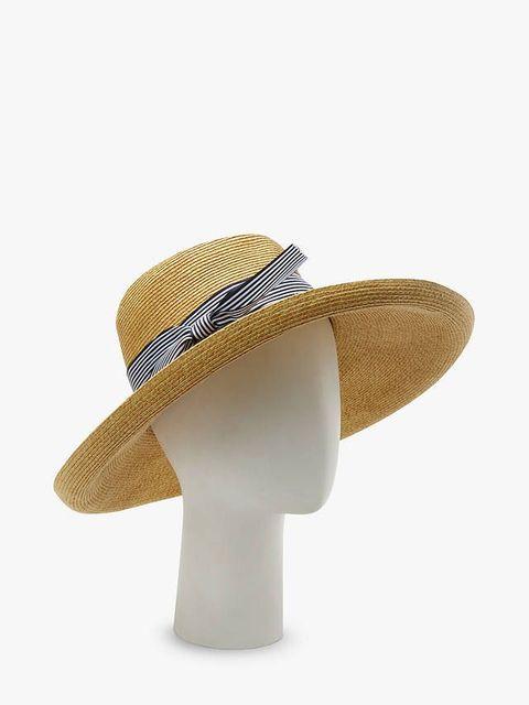 0a2a1243 John Lewis & Partners. Braid Stripe Floppy Sun Hat