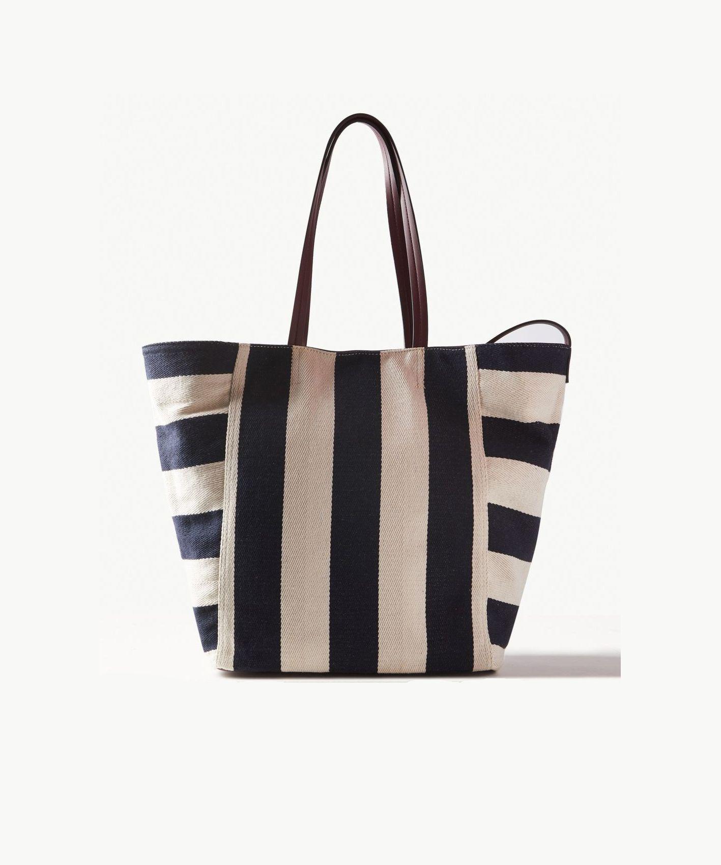 M S Striped Tote Bag