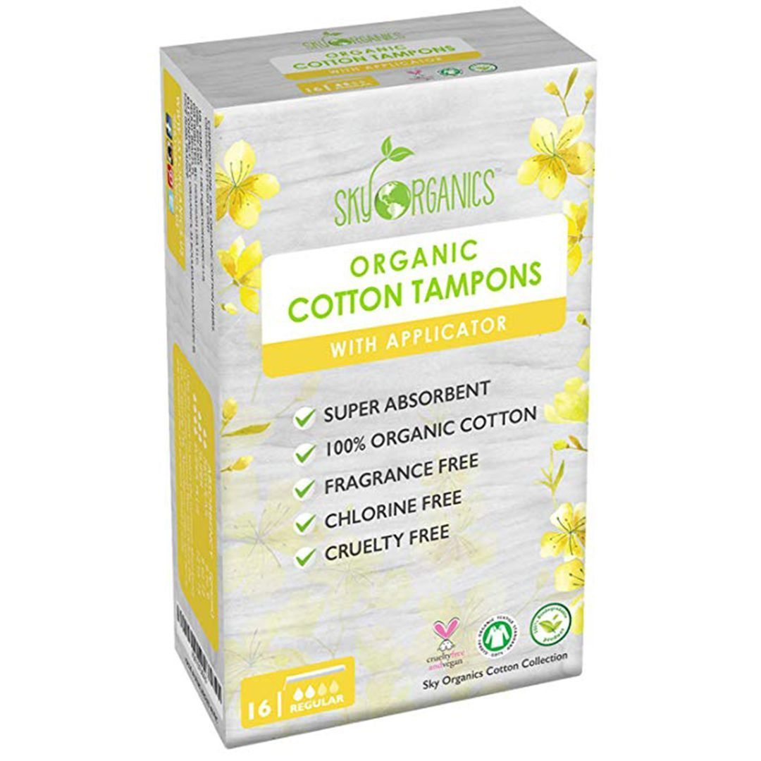 Sky Organics Organic All-Natural Cotton Tampons with Biodegradable  Applicator