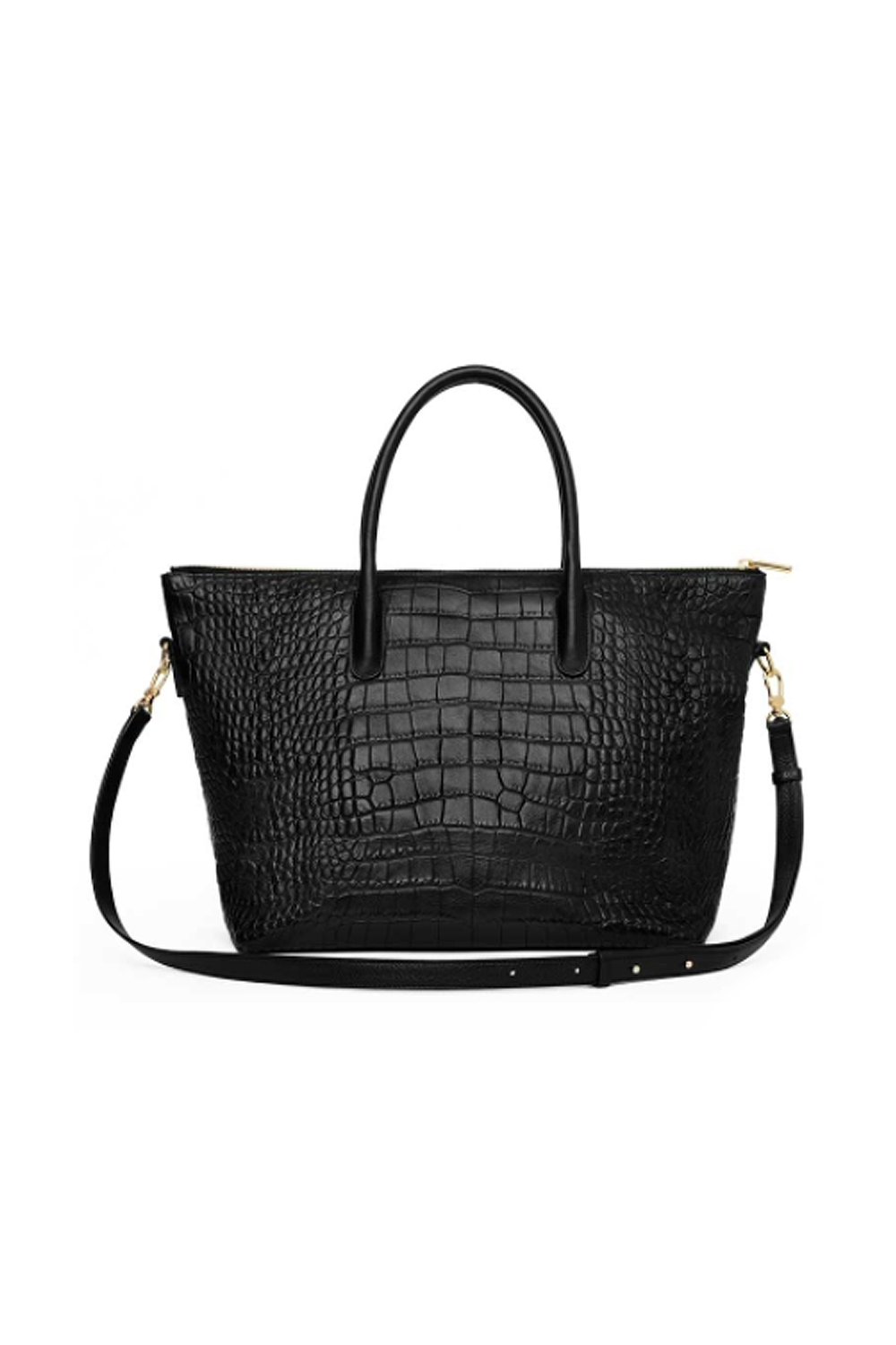 The HBIC Cuyana $275.00 SHOP IT The croc-embossed hand-held satchel of our dreams doubles as a crossbody for when you can't hold your coffee, your phone, and your bag at once. Plus, it has a theft-proof zipper for busy rush hour commutes.