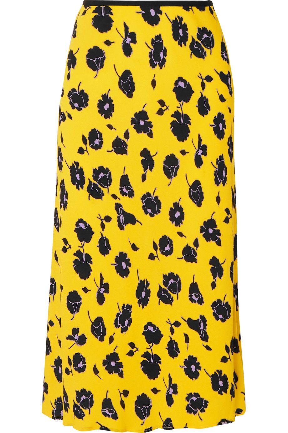 Mae Floral-Print Crepe Midi Skirt