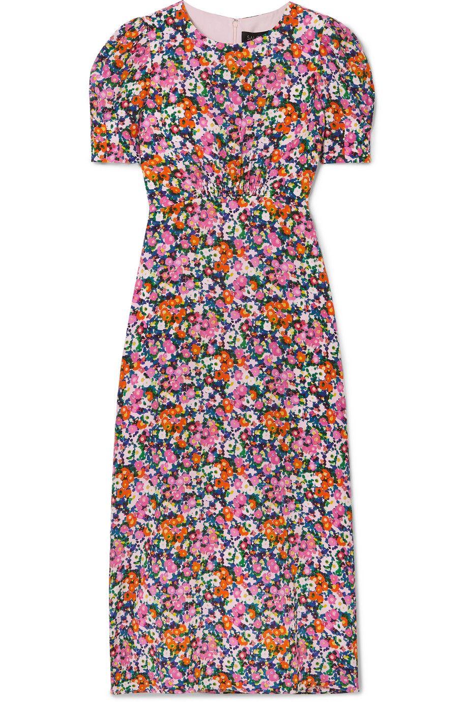 Bianca Floral-Print Silk Crepe de Chine Midi Dress
