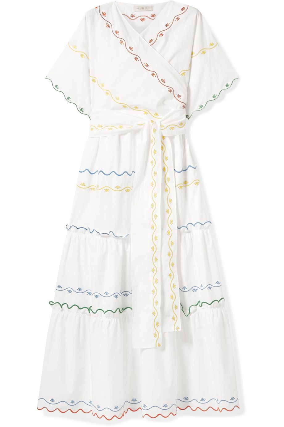 Tiered Embroidered Cotton-poplin Wrap Maxi Dress