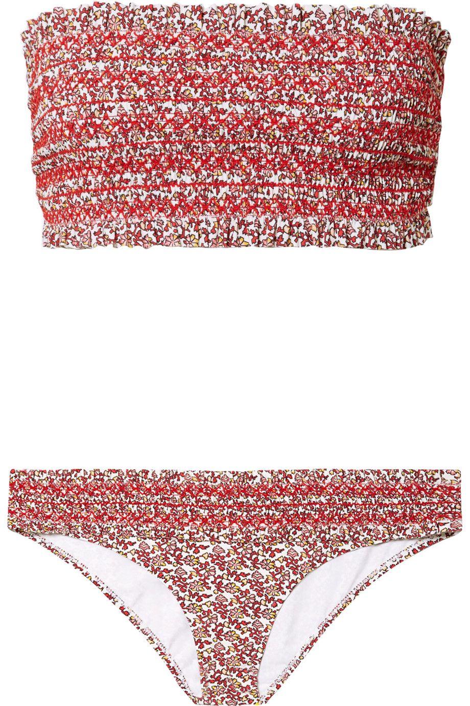 Costa Smocked Floral-Print Bandeau Bikini