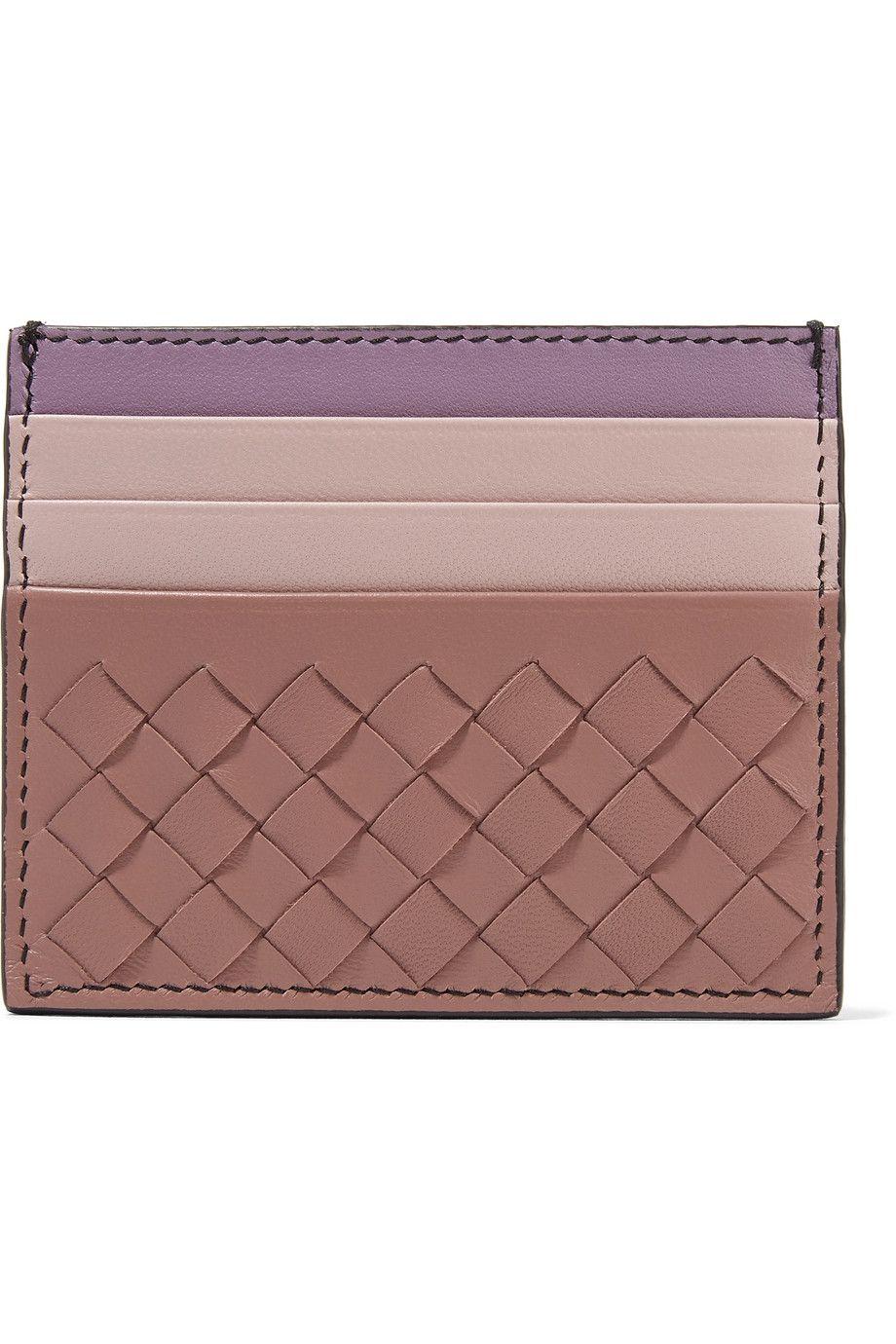 Color-block intrecciato leather cardholder