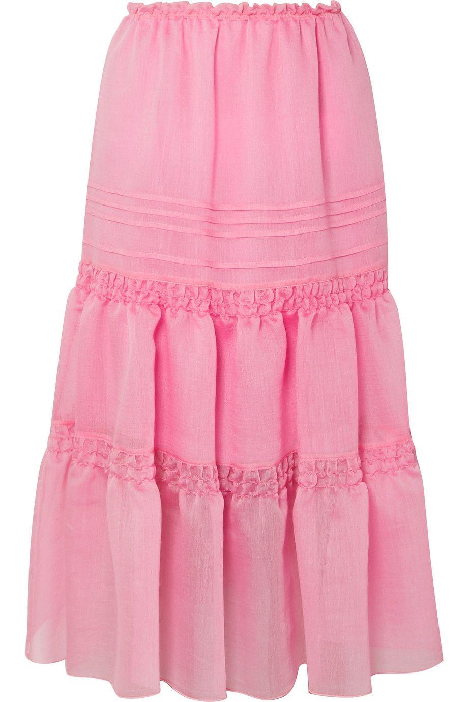 Tiered Organza Midi Skirt