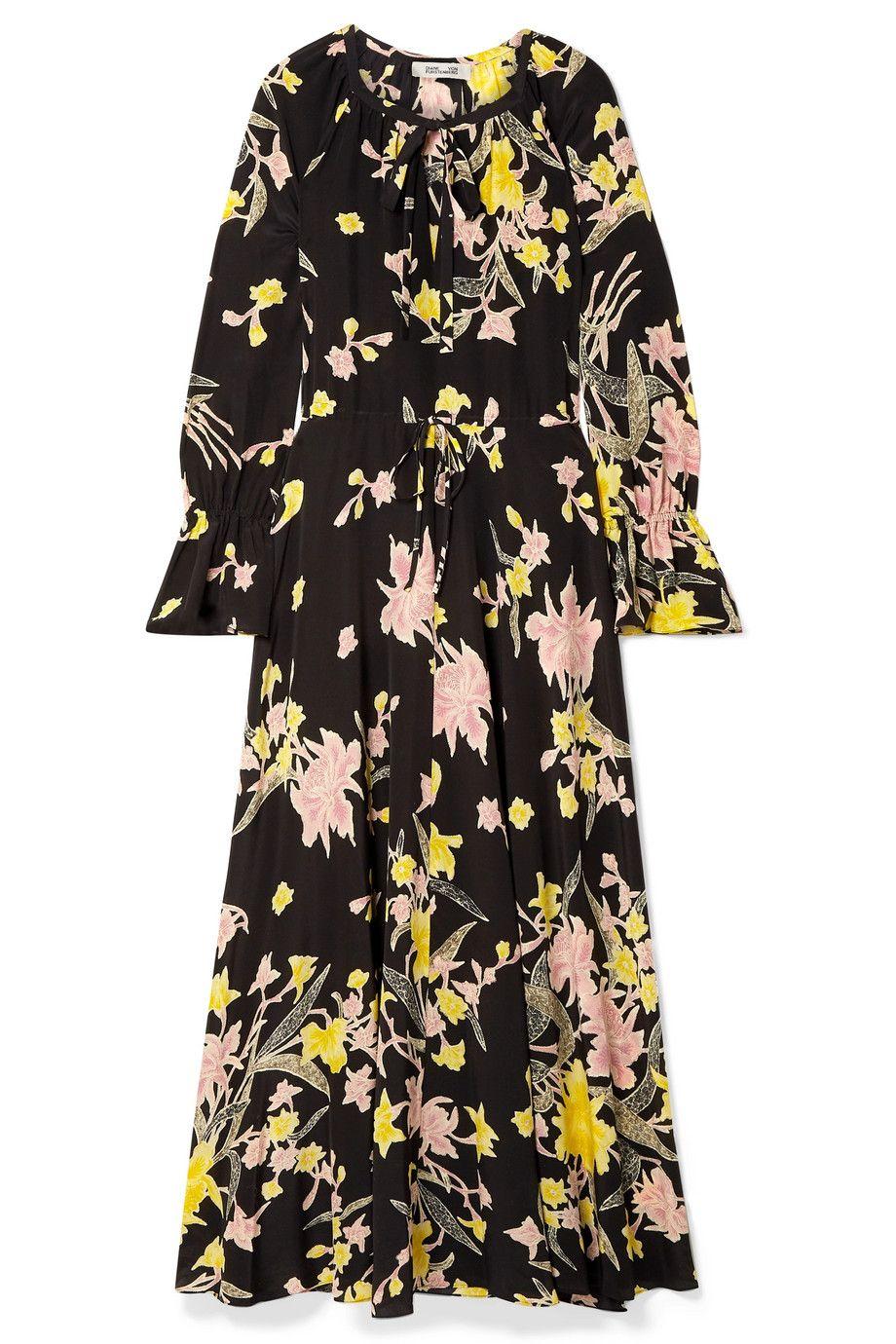 Floral-Print Silk Crepe de Chine Maxi Dress