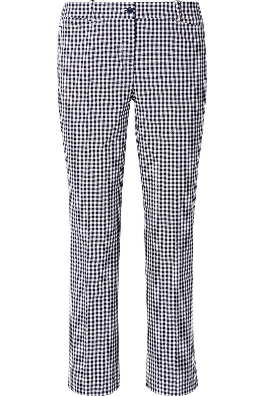Cropped Gingham Cotton-Blend Straight-Leg Pants