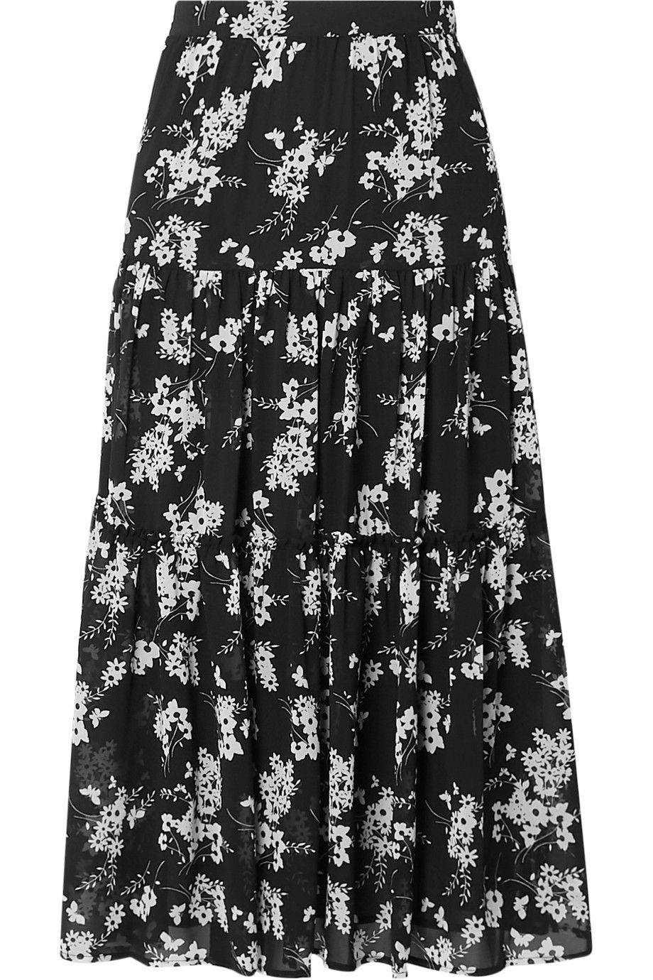 Tiered Floral-Print Chiffon Skirt