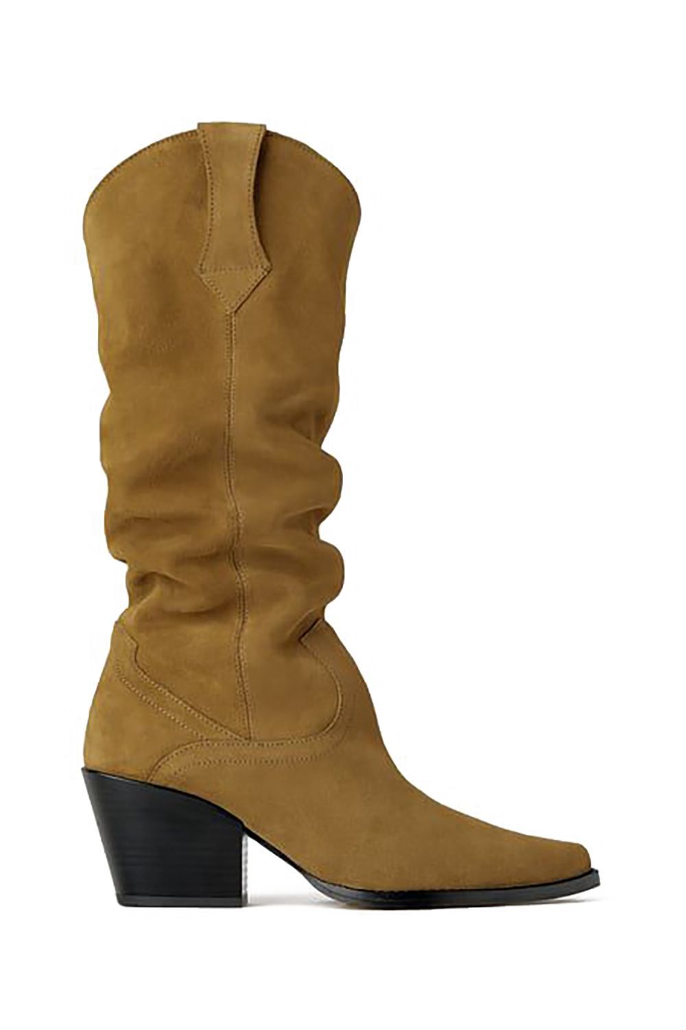 Suede Slouchy Boots Zara zara.com $149.00 SHOP IT Per the Instagram feeds of Eva Chen and Gigi Hadid , slouchy boots are having a big moment right now. Here, a neutral option for those looking to lean into the trend.