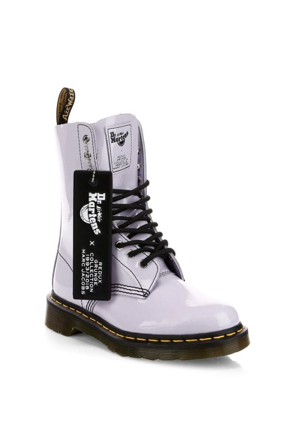 Dr. Martens X Marc Jacobs Patent Leather Boots Marc Jacobs saksfifthavenue.com $220.00 SHOP IT I'm a big believer of staying in my lane when it comes to writing about fashion, so I'll admit that lace-up boots have never been my forte. That being said, this lavender patent leather boot from the Dr. Martens x Marc Jacobs collaboration is so delightfully refreshing that even I'm rethinking my stance on combat boots.