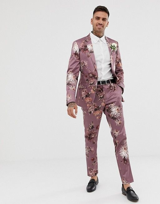 Skinny Suit Jacket With Pink Floral Print