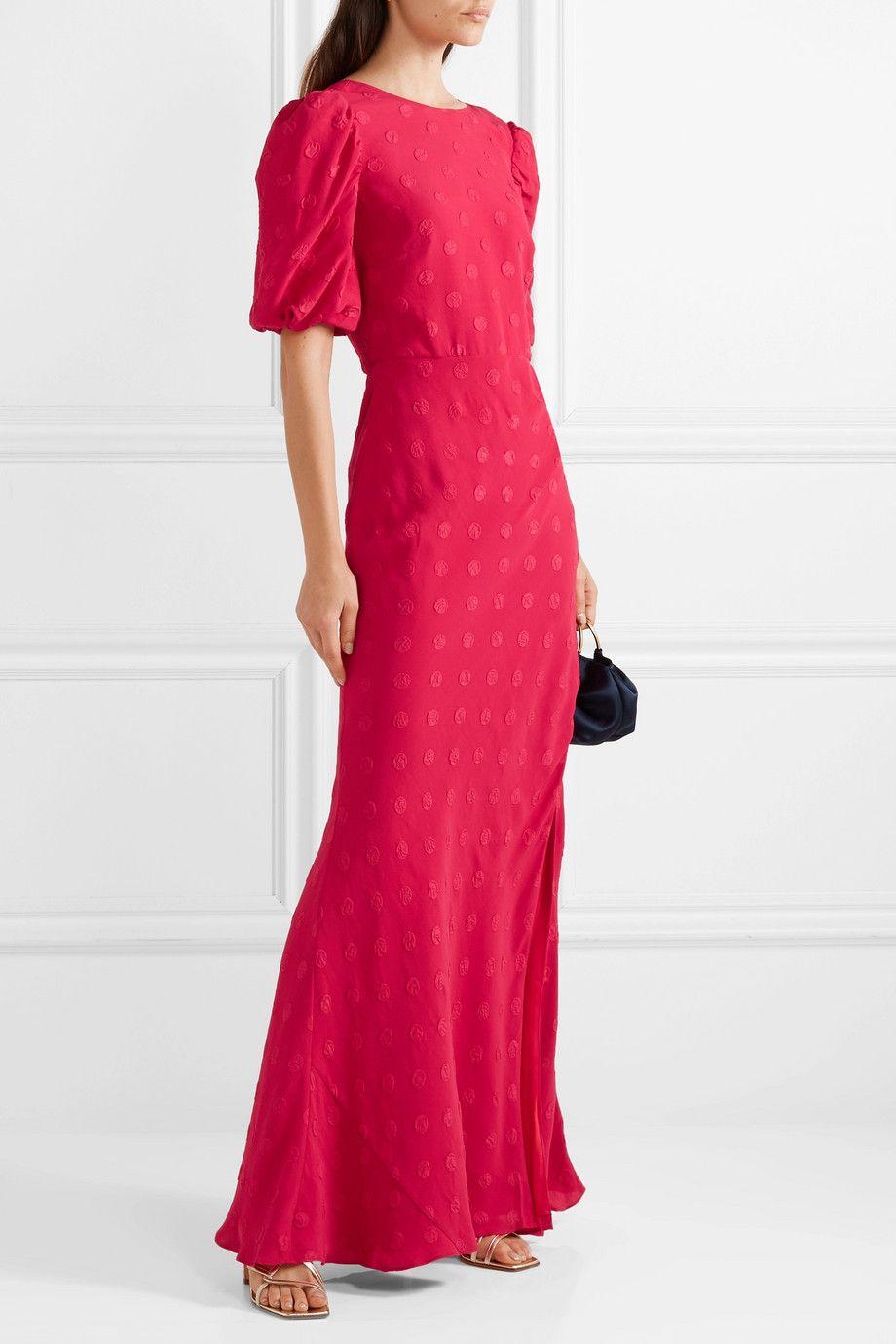 Annie gathered silk-jacquard maxi dress
