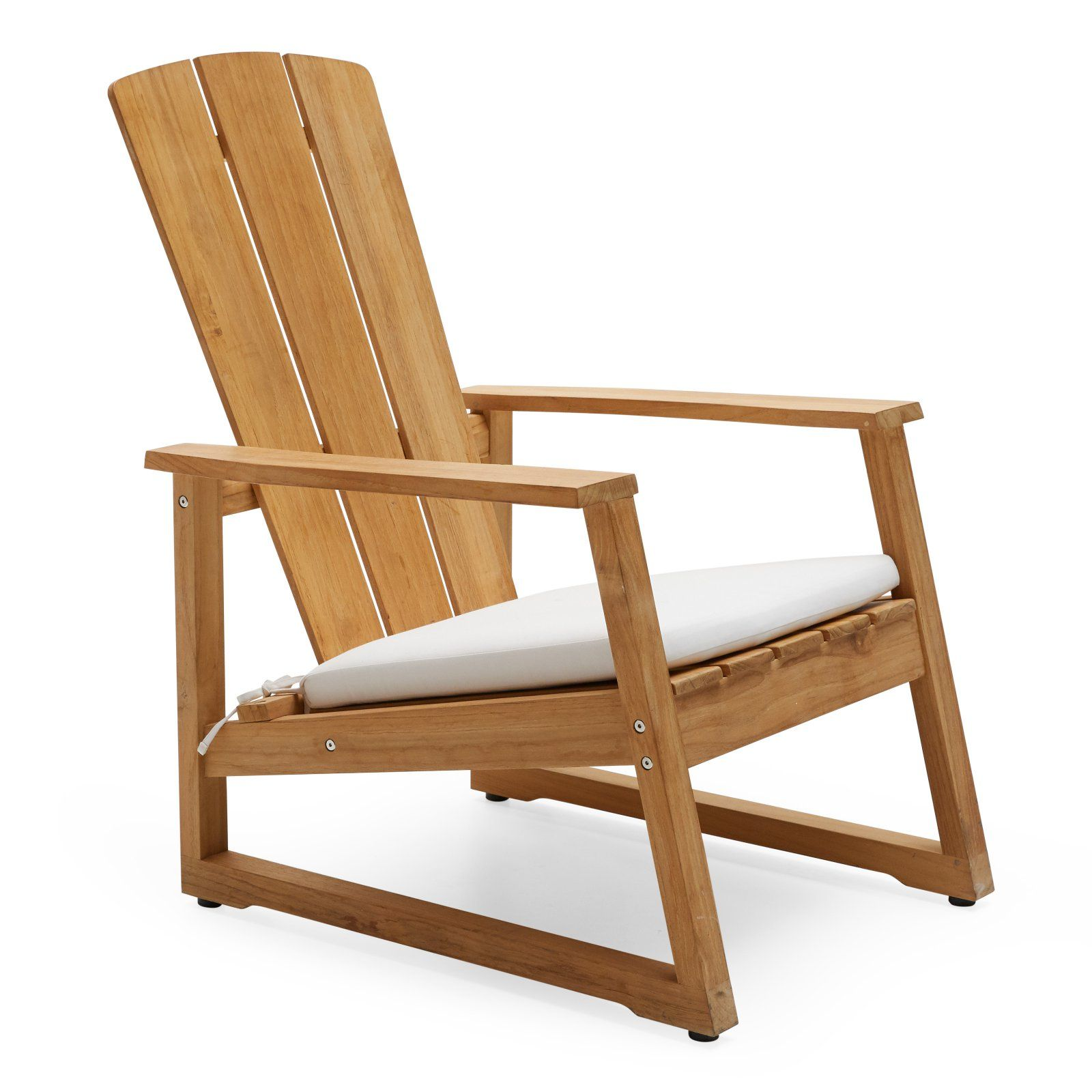Modrn Scandinavian Teak Adirondack Chair With Sunbrella Cushion