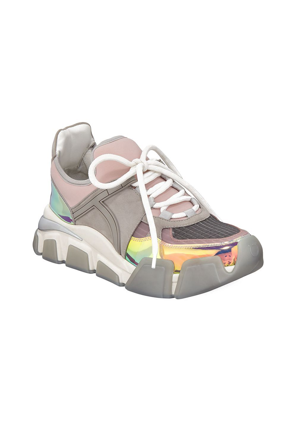 Salvatore Ferragamo Cimbra Lace-Up Dad Sneakers Salvatore Ferragamo bergdorfgoodman.com $795.00 SHOP IT The colors on this Salvatore Ferragamo sneaker almost resembles a watercolor painting. The rubber gray sole, unlike many of the other sneakers on this list, extends from the bottom all the way to the front of the shoe for an enveloping shape.