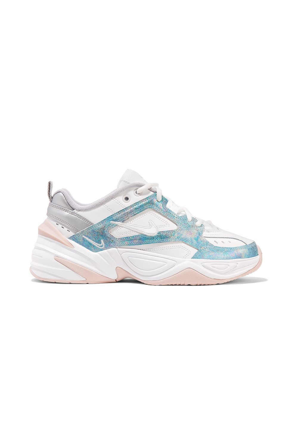 M2K Tekno Leather, Mesh and Satin Sneakers Nike net-a-porter.com $100.00 SHOP IT The iridescent blue sparkles on this sneaker are as captivating as the sand art from your childhood. The grey, pink, and blue hues bring a lightness to the shoe, making it well suited for springtime when you want to reach for the pastels and whites in your wardrobe.