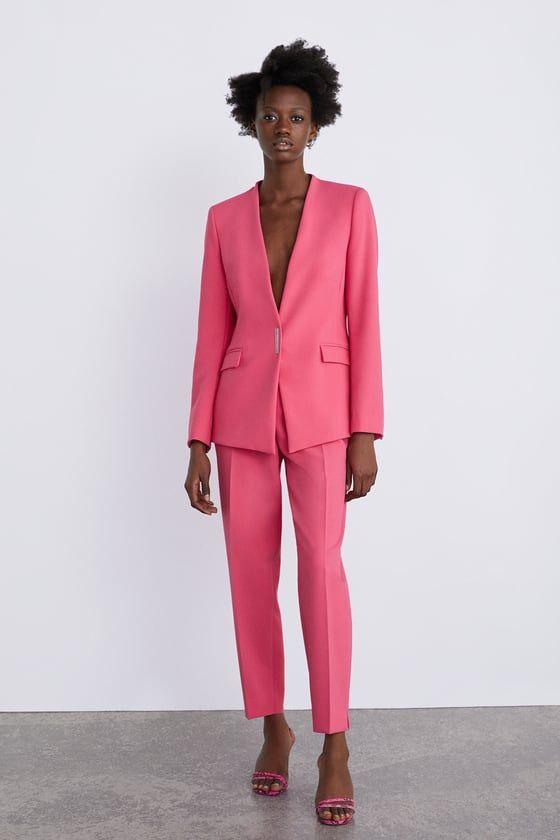 Pink Low Cut Blazer With Pockets