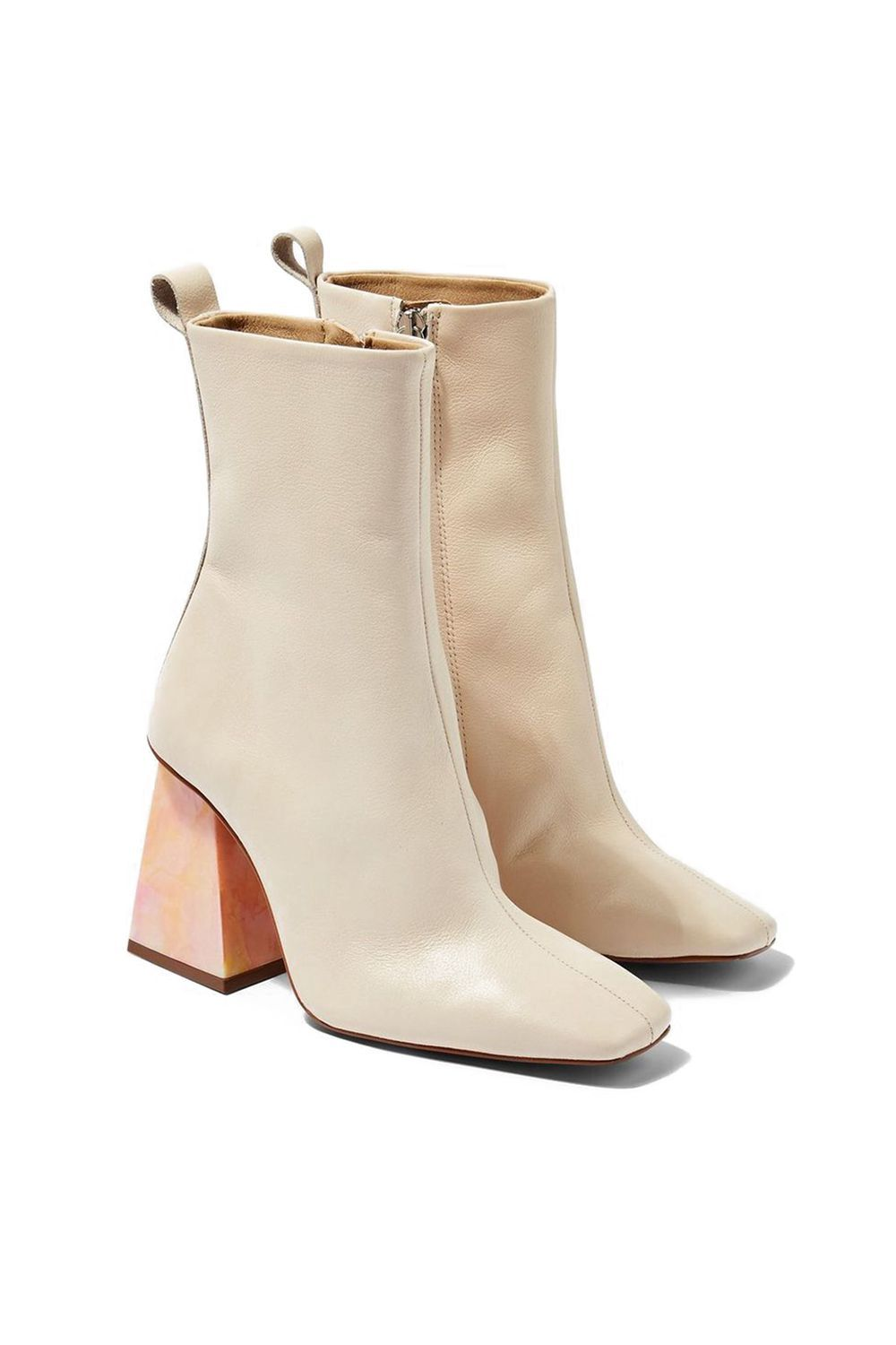 Squared-Toe Boots With a Tie-Dye Marble Heel Top Shop topshop.com $170.00 SHOP IT For the forever wild child, these cream-colored boots feature a squared-toe shape with a tie-dye marble heel. Wear these to an art gallery opening or when you're exploring a new city for a truly chic adventure.