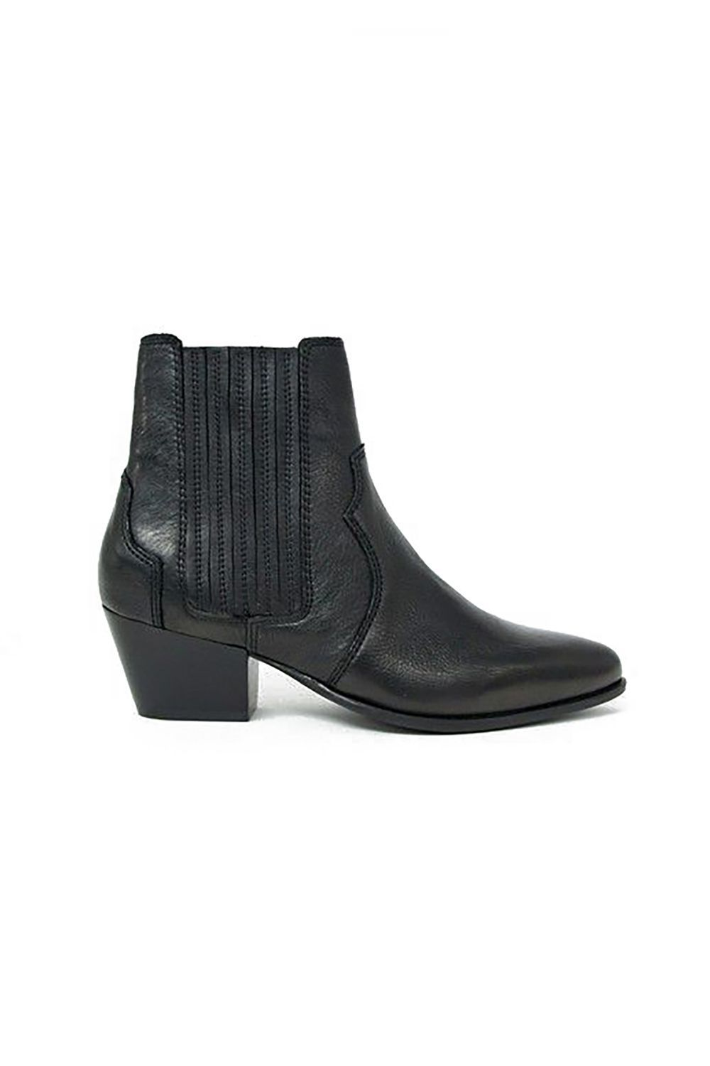 Black Leather Western Chelsea Boots Mango us.asos.com $117.00 SHOP IT The western silhouette trend is very much the rave right now and  I'm here for it. For those looking for a failsafe pair, Mango's pointed-toed western Chelsea boot hits the calf at precisely at the most flattering spot.