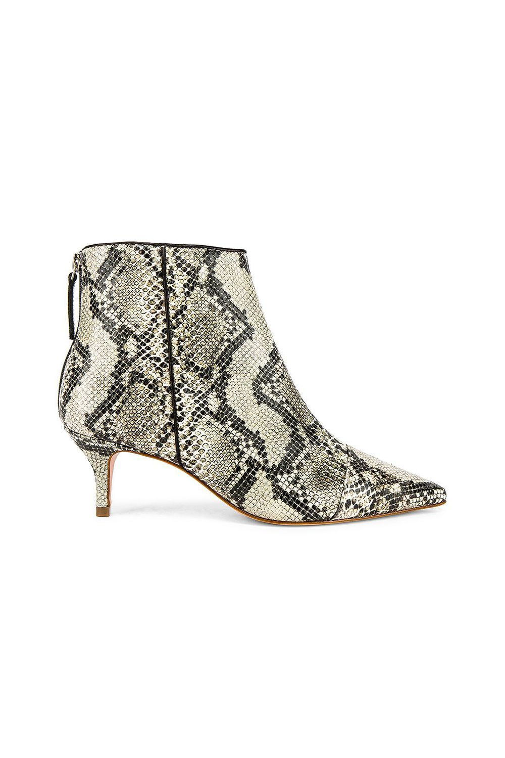 Snakeskin Kitten-Heel Booties RAYE revolve.com $228.00 SHOP IT These sleek kitten heels feature green earthy hues, and if New York Fashion Week was any indication, you'll see this palette a lot come fall 2019 . Be ahead of the trend and start wearing them now with crop jeans and linen jumpsuits.