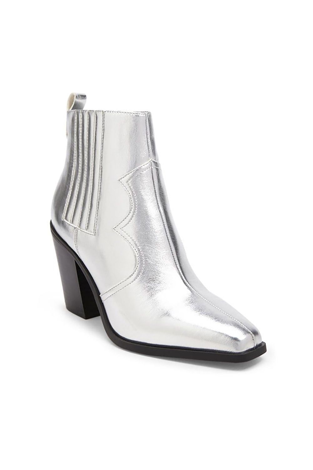 Metallic Western Booties Forever21 forever21.com $34.90 SHOP IT Few things compare to the fashion high of finding a pair of shoes that look five times more expensive than they actually are. Here, a pair of metallic, square-toed western booties for when your outfits need a sleek, futuristic edge.