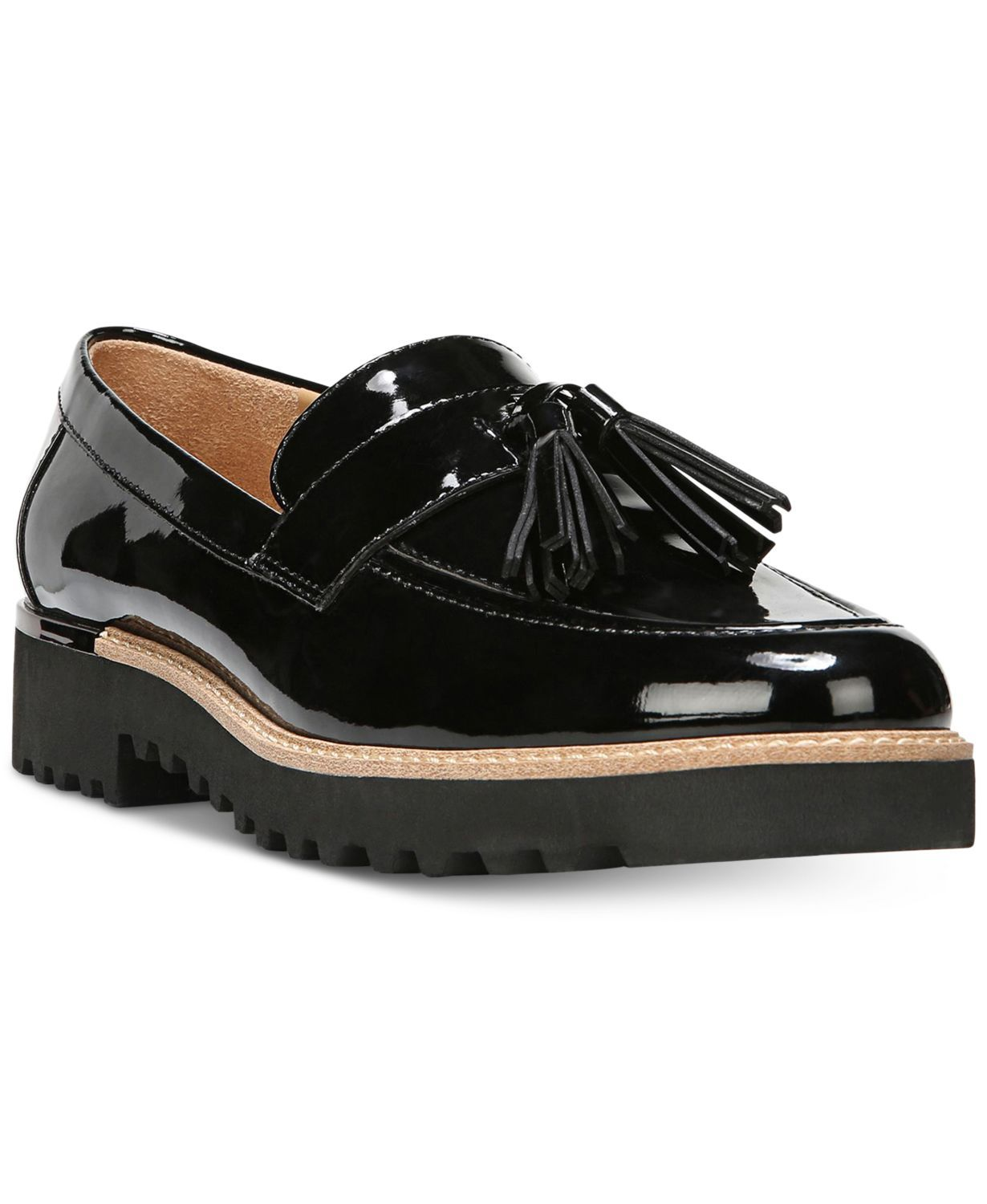Patent Leather Loafers Franco Sarto macys.com $89.00 SHOP NOW The shape itself isn't unique to the boardroom, but the high-shine finish and rugged tread are. This personality-packed pair can be styled in the same way as its more basic cousin.