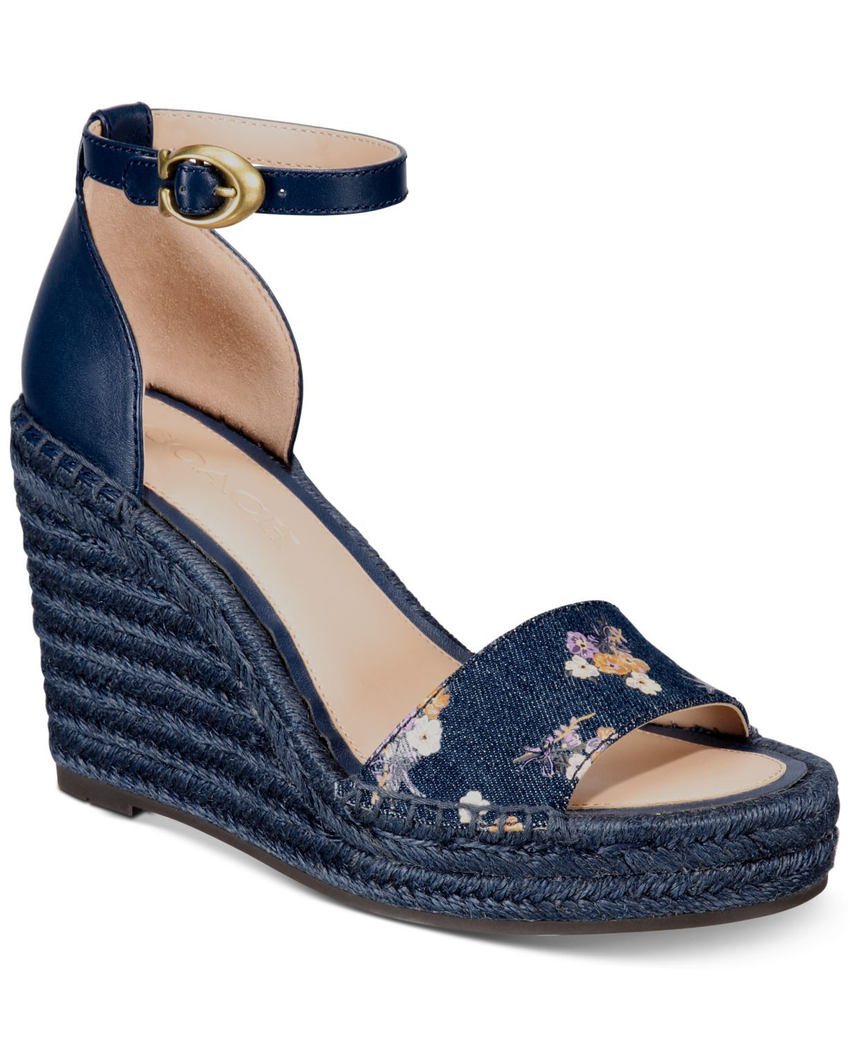 Indigo Wedges Coach macys.com $165.00 SHOP NOW An unexpected color makes any shoe instantly feel more out-of-the-box. Blue accessories are having a major moment per Macy's The Edit : Get in on the trend with this denim-esque wedge.